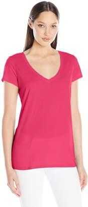Michael Stars Women's Short Sleeve Fitted V-Neck Shirt
