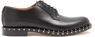 Valentino - Micro Rockstud Leather Derby Shoes - Mens - Black