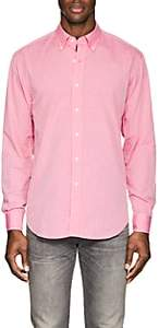 Barneys New York MEN'S SLUB COTTON POPLIN BUTTON-DOWN SHIRT-MD. RED SIZE M