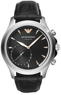 Emporio Armani Alberto Stainless Steel Hybrid Leather-Strap Smartwatch