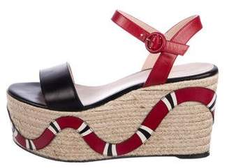 Gucci Barbette Kingsnake Espadrille Wedges