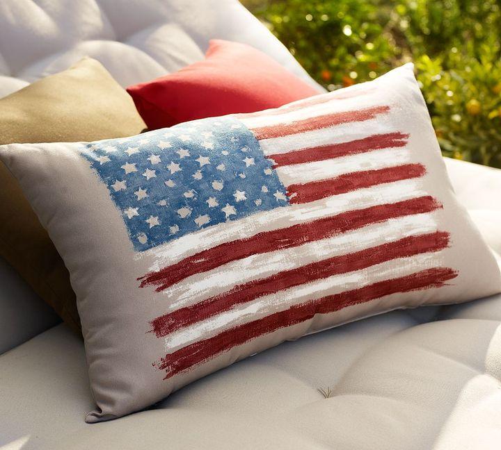 Painted Flag Outdoor Lumbar Pillow