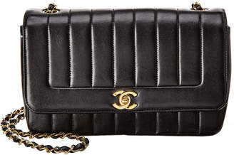 Chanel Black Quilted Lambskin Leather Vertical Border Single Flap Bag
