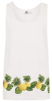 Topman Mens Cream Ecru Pineapple Print Tank