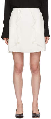 See by Chloe White Crepe Ruffle Miniskirt