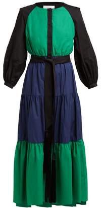 Borgo de Nor Meret Colour Block Cotton Poplin Midi Dress - Womens - Navy Multi