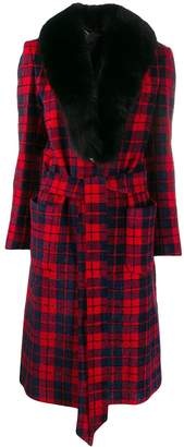 Philipp Plein fur lined tartan coat