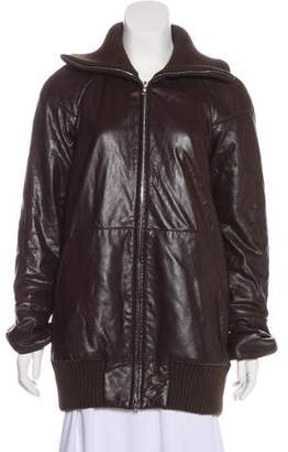Marc Jacobs Leather Mock Neck Jacket