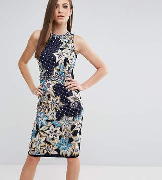 A Star Is Born Pencil Dress With Quilted Embroidery & Embellishment