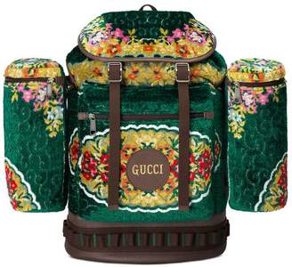 Gucci Large floral velvet jacquard backpack
