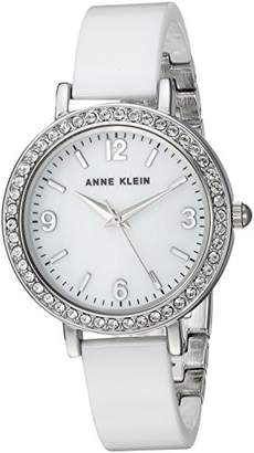 Anne Klein Women's Swarovski Crystal Accented Silver-Tone and Ceramic Bangle Watch