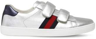 Gucci Metallic Leather Strap Sneakers