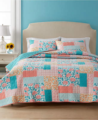 Martha Stewart Collection Closeout! Collection Flower Patch 100% Cotton Reversible Queen Quilt, Created for Macy's