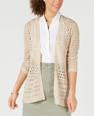 Charter Club Open-Stitch Cardigan Completer Sweater