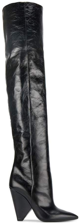 Saint Laurent Black Leather Niki 105 over the knee boots
