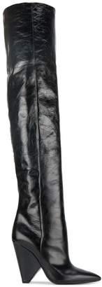 Saint Laurent Black Niki 105 Leather Thigh boots