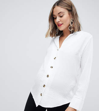 New Look Maternity button through shirt in white