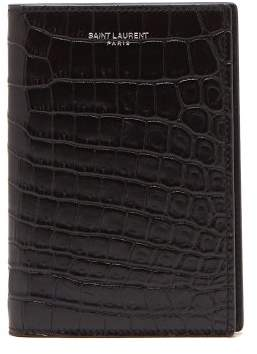 Saint Laurent Crocodile Effect Leather Passport Holder - Mens - Black