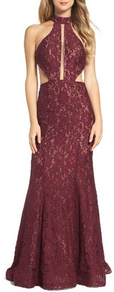 Women's La Femme Cutout Lace Mermaid Gown $498 thestylecure.com