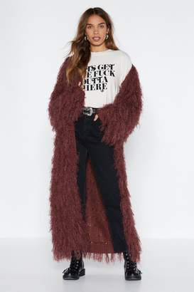Nasty Gal Getting Down and Dirty Shagggy Cardigan