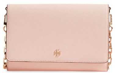 Tory Burch Women's Tory Burch 'Robinson' Leather Wallet On A Chain - Black