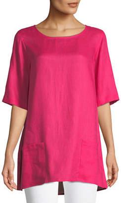 Caroline Rose Tissue Linen Front-Pocket Tunic