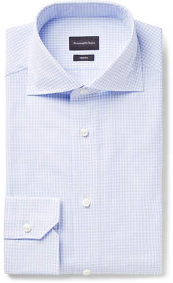 Ermenegildo Zegna Light-Blue Trofeo Slim-Fit Cutaway-Collar Checked Cotton-Poplin Shirt