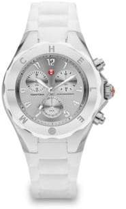 Michele Tahitian Jelly Bean Stainless Steel & Silicone Chronograph Bracelet Watch/White