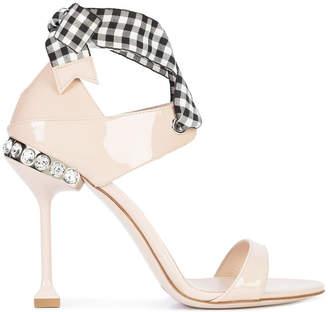 Miu Miu back bow embellished sandals