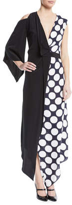 Awake V-Neck Draped One-Sleeve Asymmetric Polka-Dot Cocktail Dress