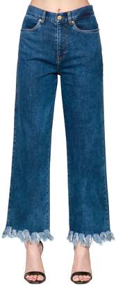 Baum und Pferdgarten Fringed High Rise Wide Leg Denim Jeans