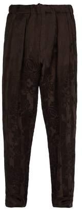 Haider Ackermann Aster Floral Jacquard Linen Blend Trousers - Mens - Brown
