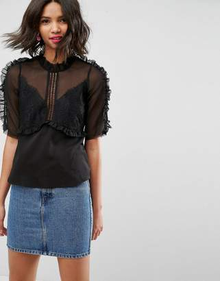Asos DESIGN Tea Blouse In Chiffon Lace Mix With Ruffle