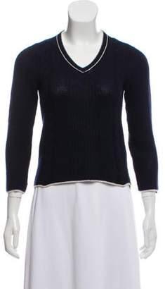 Prada Knit V-Neck Sweater Navy Knit V-Neck Sweater