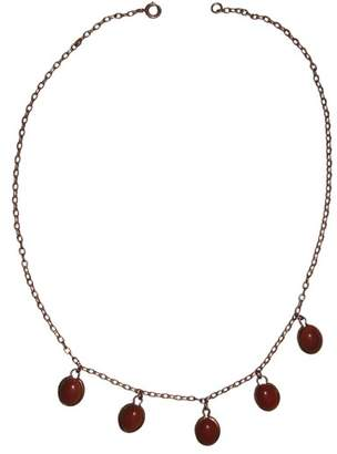 Rose Gold Plated with Five Red Coral Cabochon Drop Pendant Necklace