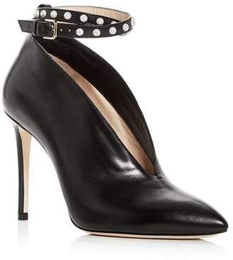 Jimmy Choo Women's Lark 100 Leather Ankle Strap Pointed Toe Pumps