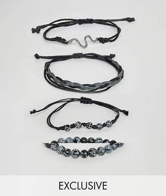 Reclaimed Vintage inspired bracelet pack in black exclusive at ASOS