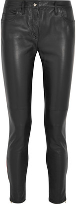 Versace - Leather And Stretch-jersey Mid-rise Skinny Jeans - Black $1,695 thestylecure.com