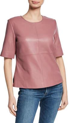 Neiman Marcus Leather Collection Crewneck Short-Sleeve Lambskin Leather Tee