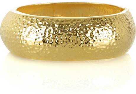 Kenneth Jay Lane Hammered gold plated bangle