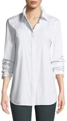 Lafayette 148 New York Brody Long-Sleeve Poplin Blouse, White