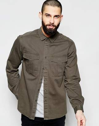 Asos DESIGN Military Overshirt In Khaki With Long Sleeves