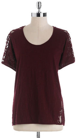Vince Camuto TWO BY Lace-Back Cotton Slub Tee