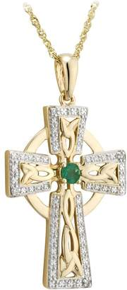 Celtic Solvar 14K Diamond & Emerald Accent Cross Pendant