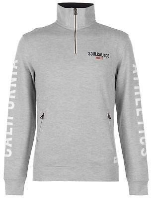 Soul Cal SoulCal Mens Deluxe Funnel Neck Sweatshirt Quarter Zip Sweater T Shirt Top