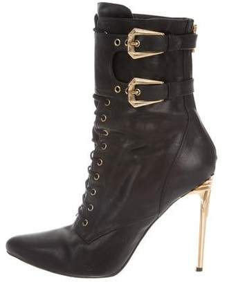 Balmain Leather Lace-Up Ankle Boots