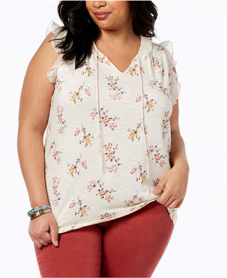 Lucky Brand Trendy Plus Size Flutter-Trim Top