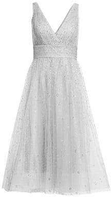 Marchesa Glitter Tulle V-Neck Empire Waist A-Line Dress