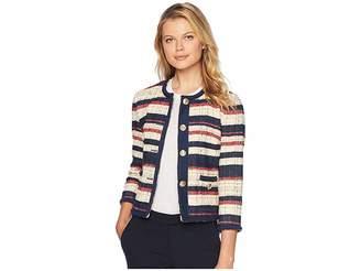 Anne Klein Cotton Striped Jacquard Collarless with Braided Trim Jacket Women's Coat