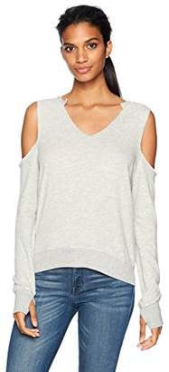 Pam & Gela Women's V-Neck Cold Shoulder Sweatshirt-Hg